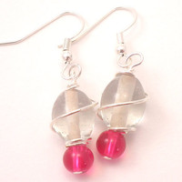 Wire Wrapped Earrings with Silver Wire around Clear and Pink Glass Beads