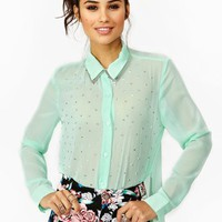 Metallic Stud Blouse - Mint