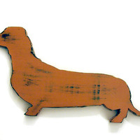 Dachshund (Pictured in Rust) Pine Wood Sign Wall Decor Rustic Americana French Country Chic