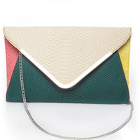 For Goodness&#x27; Snake Ivory and Teal Snakeskin Clutch