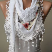 New - White Scarf with Flowered Fabric and Trim Edge - Triangular