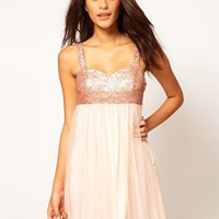 ASOS Babydoll Dress With Sequin Bust at asos.com