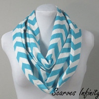 "Infinity Scarf in Aqua Blue Chevron Zig Zag- Long Modern Circle Scarves - 7"" W  X  72"" L"