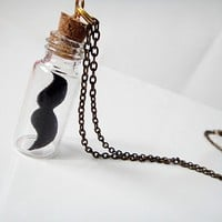 Moustache in a Bottle Necklace by yummypocket on Etsy