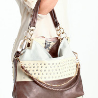 RHINESTONE STUD SHOULDER BAG
