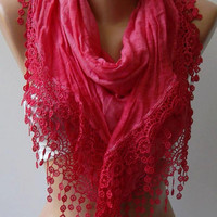 ON SALE Elegant  Scarf  - Dark Pink -  Soft  Scarf