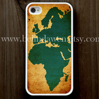 iPhone 4 Case, iphone 4s case, vintage world map iphone case, world map iphone 4 case, graphic iphone 4 case
