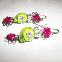 Day Of The Dead Mini Skull Earrings - Lime and Fuchsia