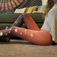 Galaxy Bubble Leggings - Cosmic Leggings - Peach and Navy Blue - Hand Dyed & Slashed Leggings - Ombre - Galactic Bubbles, Size Small, OOAK