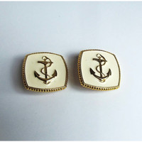 Vintage Nautical Anchor Over-sized Preppy Earrings