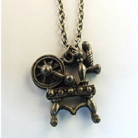Vintage Yarn Spinning Wheel Pewter Pendant Necklace