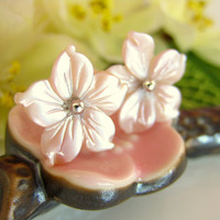 Pink cherry blossom shell stud earrings