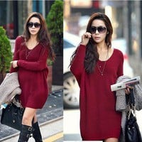 New Womens Korean Fashion Fall Loose Casual V Neck knitted Sweater Deep Red H414