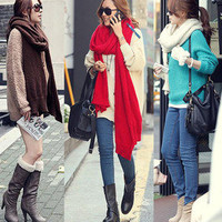 Korean Fashion Womens Long Knitted Wool Scarf Warm Shawl Wrap 3 Solid Color 6474