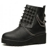 Black Leatherette Chunky Heel Ankle Boots Shoes - Designer Shoes|Bqueenshoes.com