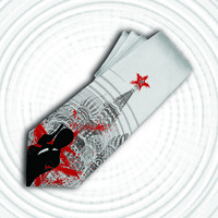 James Bond inspired mens tie. Movie necktie for your spy, super hero, dad or 007 fan.