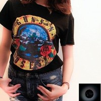 COSMIC RAY clothing — 'GUNS' Black Guns 'N' Roses Top