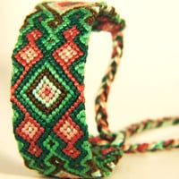 Green &amp; Red Diamond Pattern Knotted Friendship Bracelet - Great Christmas Stocking Stuffer