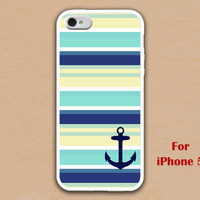 iPhone 5 Case, Nautical Anchor iphone 5 case, navy blue Nautical Stripe iphone 5 case, white iphone 5 case