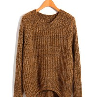 Chunky Knit Sweater with Dip Hem