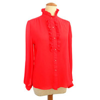 Vintage 80s Puff Sleeve Blouse Semi Sheer Red Rhinestone Buttons