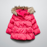 puffer jacket with fur hood - Baby girl - New this week - ZARA United States