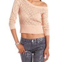 Pearl Collar Open-Knit Sweater: Charlotte Russe