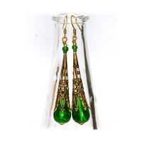 Victorian Style venetian glass earrings  Long Vivid Emerald Green Dangle antique gold, foil glass murano, gift for her
