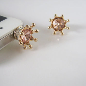 Bling Bling Crown DISCOUNTED - iPhone earphone plug dust plug - Gold