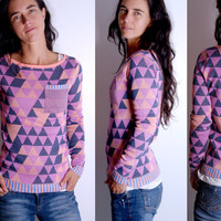 Icewonderland Purple Sweater - Jacquard Geometric Triangle Pattern (XS-L)