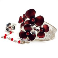 Handmade Silver Cuff Slave Bracelet Ring with Red Flower Bouquet