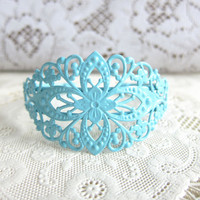 Blue Bracelet Lace Filigree Bracelet Bridesmaids Bracelet Tiffany Turquoise Light Pale Blue Dusty Powder Blue Wedding