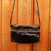 distressed dark brown leather crossbody bag. small purse. small shoulder bag. fall fashion. boho bag. hippie bag