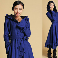 Blue Wool  ruffled maxi Coat with Hood  (380)