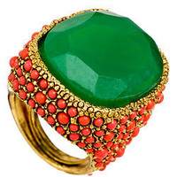 Kenneth Jay Lane Green and Coral Cocktail Ring - Max and Chloe