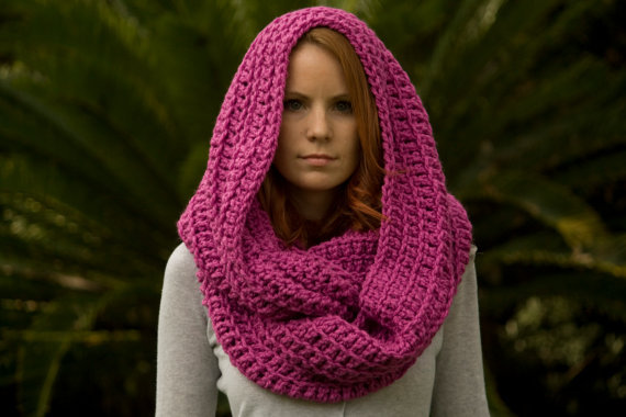 Free Crochet Pattern For Infinity Scarf With Hood : Infinity Scarf, Hooded Scarf, Oversized from WellRavelled ...