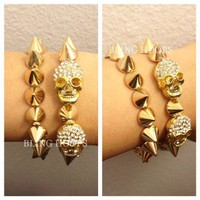 NEW Bling Hoops Gold Spikes & Skulls