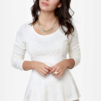 Sweeter Than Heaven Cream Peplum Top