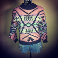 Vintage Pastel TRIBAL AZTEC Sweater / Jumper