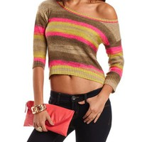 Striped Hi-Low Pullover Sweater: Charlotte Russe
