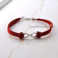 infinite love bracelet, silver charm bracelet, suede bracelet, true red, infinity Jewelry, everlasting love, enternity