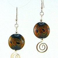 Fire Aurora Lampworked Glass Bead Earrings by MercuryGlass on Etsy