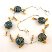 Space Zebra Raku Lampworked Glass Bead Necklace by MercuryGlass