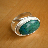 Special Offer Peruvian Chrysocolla Green and Turquoise Sterling Silver Ring - Gemstone Ring - Bezel Setting Ring - Handmade ring