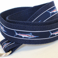 Canvas Ribbon Belt / D-Ring Belt for Men -  Marlin Sailfish in navy