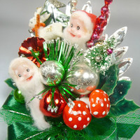 Christmas Corsage Vintage Elves Reindeer Bottlebrush Tree Mercury Glass Red Green Decoration