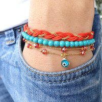Ethnic bracelet set in orange turquoise women christmas gifts braided bracelet evil eye turkish istanbul ethnic jewelry best friend birthday