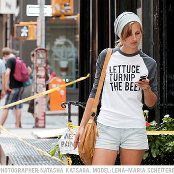 $28.00 lettuce turnip the beet  grey baseball jersey  unisex by coup