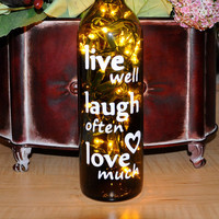 Wine Bottle Lights Live Well Laugh Often Love Much Wedding Gift