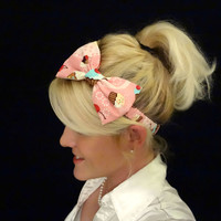 Pink cupcake bow stretch headband feminine/kawaii/pinup